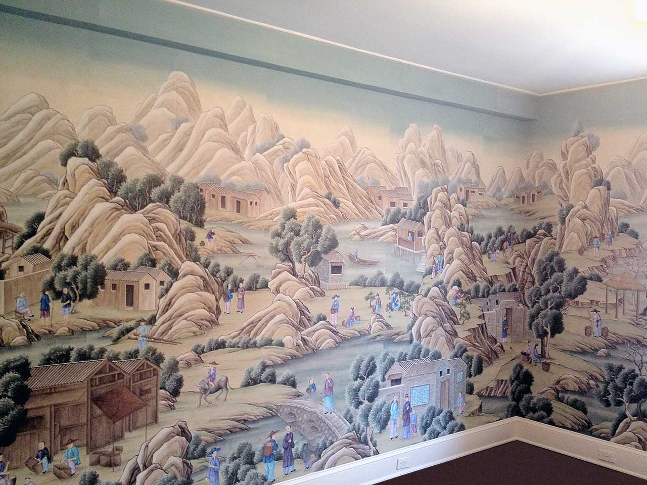 Chinese Rural Village hand painted by Gracie's artists.