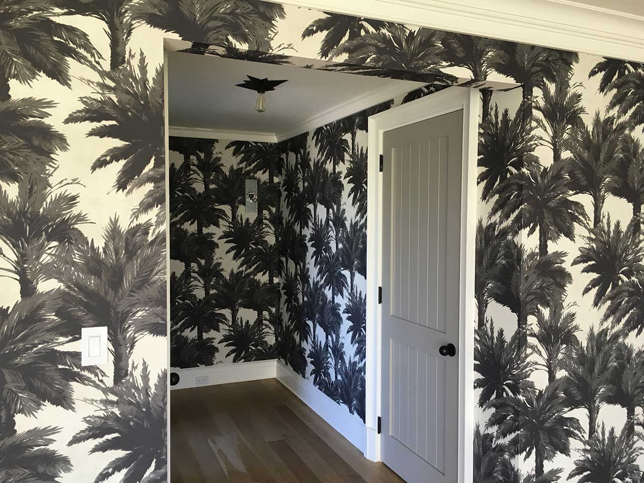 wallpapering-palm-pattern